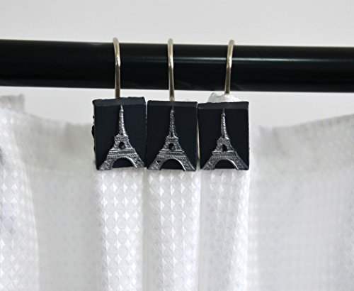 A.Monamour Decorative Shower Curtain Hooks Rustproof Smooth Gliding Shower Curtain Roller Rings For Bathroom Curtain Rods - Set of 12- Black Resin Paris Eiffel Tower Print Art Decors Hooks (Ring Tower Eiffel)