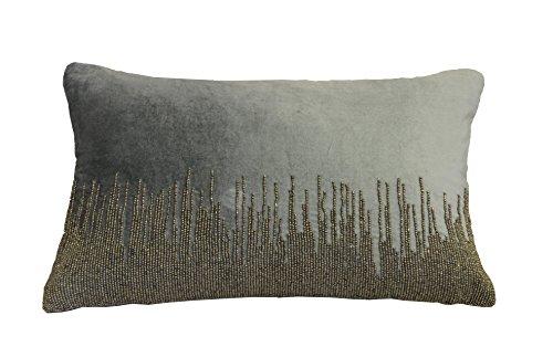AM Home 0319 Beaded Velvet Pillow, Silver