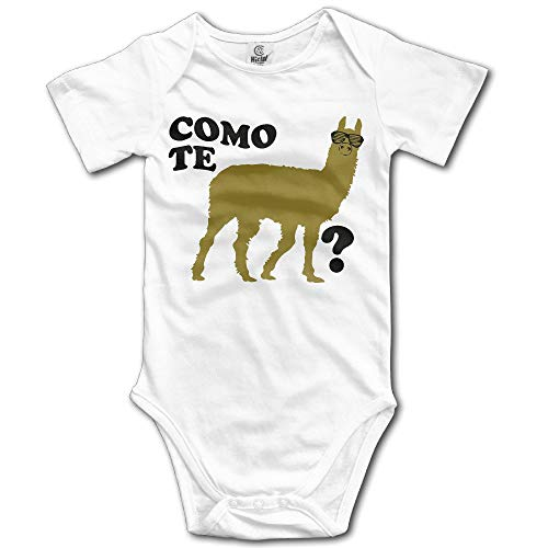 Trikahan Infant Llama with Glasses Como Te Question Mark Cute Baby Onesie Bodysuits Jumpsuit Outfit Clothes White