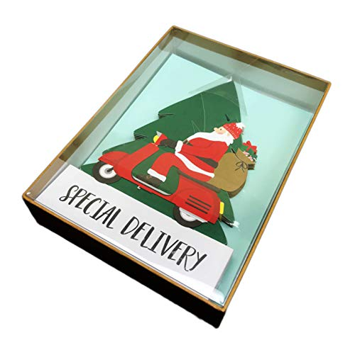 (Happy Holidays Special Delivery Box of 10 Trifold Christmas Holiday Greeting Cards & Coordinating Envelopes)