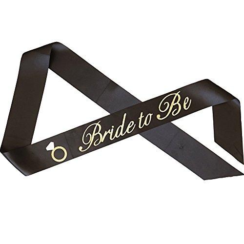 "Premium ""Bride to Be"" with Diamond Ring Bachelorette Sash - Black with Gold Glitter Cursive Font"