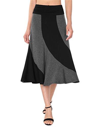 DJT Femme Jupe Longue Taille Haute Vintage Chic Rtro Jupe Fluide Noir-gris