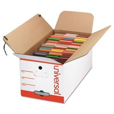 Universal 75120 Economy Storage Box, Tie Close, Letter, Fiberboard, White, 12/Ct