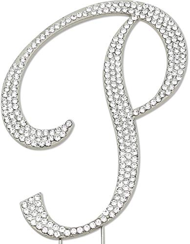 Sparkly Rhinestones Letter P Cake Topper, Birthday Wedding Anniversary Silver Initial P