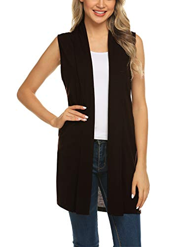 Women's Plus Size Sleeveless Shawl Draped Open Front Cardigan Long Vest Top Dark Brown M