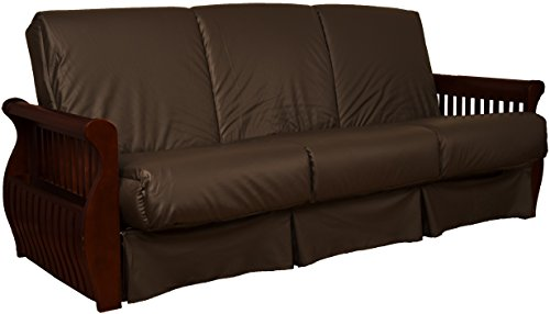 Laguna Perfect Sit & Sleep Pocketed Coil Inner Spring Pillow Top Sofa Sleeper Bed, Queen-size, Mahogany Arm Finish, Leather Look Brown Upholstery ()