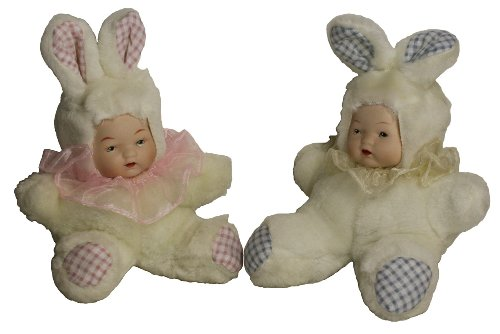 [Porcelain Sitting Doll Baby (6 Inches) Twin in Cute Bunny Rabbit Cloth Costume Best Gift for All] (Porcelain Doll Costumes)