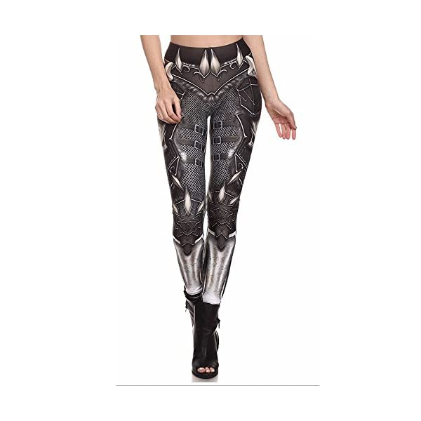 F style Womens 3D Printed Seamless Character Stretch Leggings High Waist Slim Pencil Pants 3