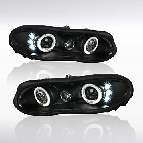 Autozensation For Chevy Camaro Replacement Black Halo Projector LED Headlights Lamps Pair