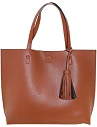 Humble Chic Large Vegan Leather Tote Bag Reversible Shoulder Handbag Tassel Purse
