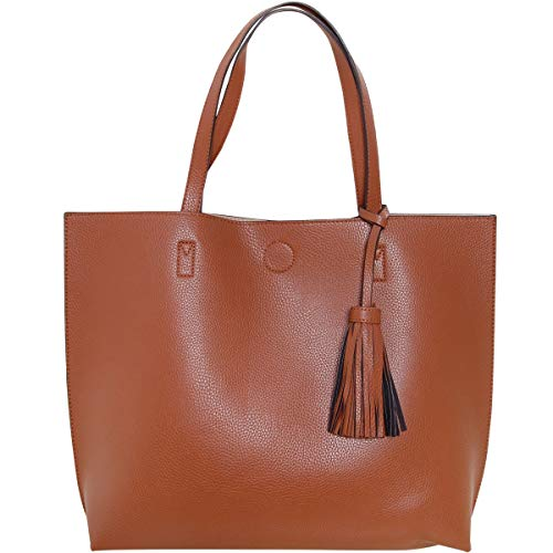 (Humble Chic Large Vegan Leather Tote Bag Reversible Shoulder Handbag Tassel Purse, Saddle Brown & Tan, Camel, Cognac, Walnut, Beige, Nude, Light Brown)