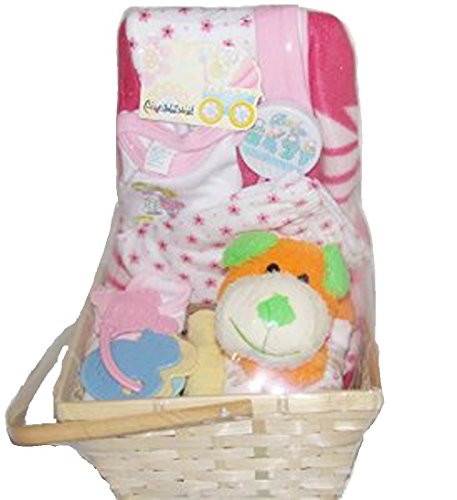 Baby Gift Basket Pink Set w/ Dog, Rattles, Wash Cloths, Baby Blanket, and Set of Clothes