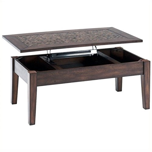 (BOWERY HILL Lift Top Coffee Table with Tile Inlay in Baroque Brown)