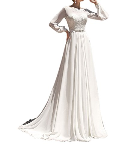 Ivory 2017 Appliqued Dress Amore Women's Bridal Elegant Beach Wedding Sleeve Chiffon Long qqvPZxw6