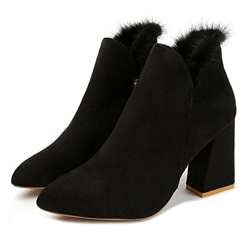 Beige Toe Chunky Boots Nubuck Boots Red Heel HSXZ leather Ankle Booties Summer PU Comfort Casual Black Bootie Red ZHZNVX for Women's Shoes Pointed SfqAAwR