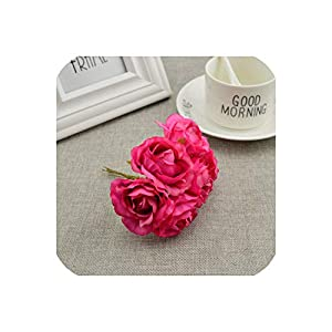 April With You 6pcs Artificial Flowers Bridal Bouquet DIY Wreath Material Craft Home Decoration Wedding car Party Glass Cover Silk Roses,Rose red 108