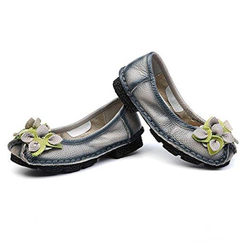 Eagsouni® Mocasines de Piel para mujer Loafers Casual Zapatos Zapatillas Flor Gris