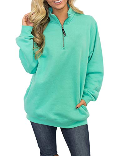 Malaven Womens Long Sleeves Quarter Collar 1/4 Zip Fleece Pullover Sweatshirts Plus Size Mint Green M 8 10