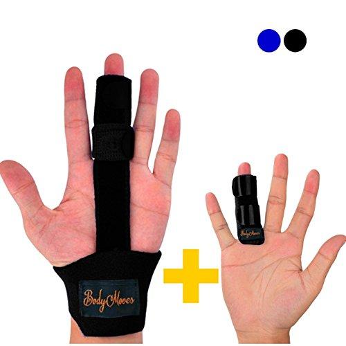 BodyMoves Finger Splint and Finger Extension Splint Trigger Finger Mallet Finger Broken Finger Rheumatoid Arthritis Post Operative Care Finger Knuckle Immobilization Injury (Midnight Black)