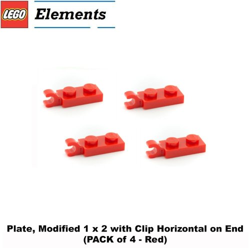 Lego-Parts-Plate-Modified-1-x-2-with-Clip-Horizontal-on-End-PACK-of-4-Red