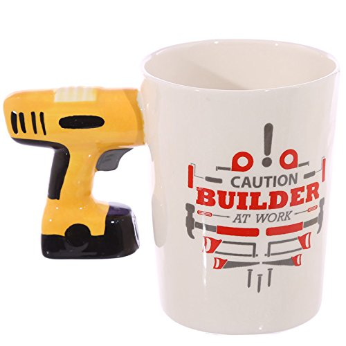 Builders Mug with Electric Drill Shaped Handle present gift Perfect for any round