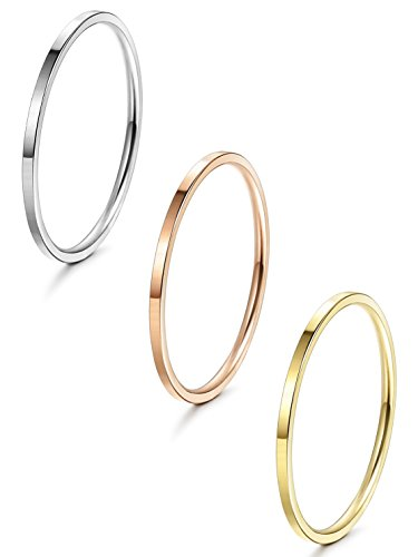 LOYALLOOK 1mm Stainless Steel Women's Plain Band Stacking Midi Rings Comfort Fit Wedding Band Ring (A:Flat 3pcs(white+gold+rose), 8)