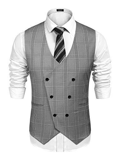 COOFANDY Mens Slim Fit Double Breasted Check Waistcoat Vintage Gentleman British Suit Vest, Grey, Medium