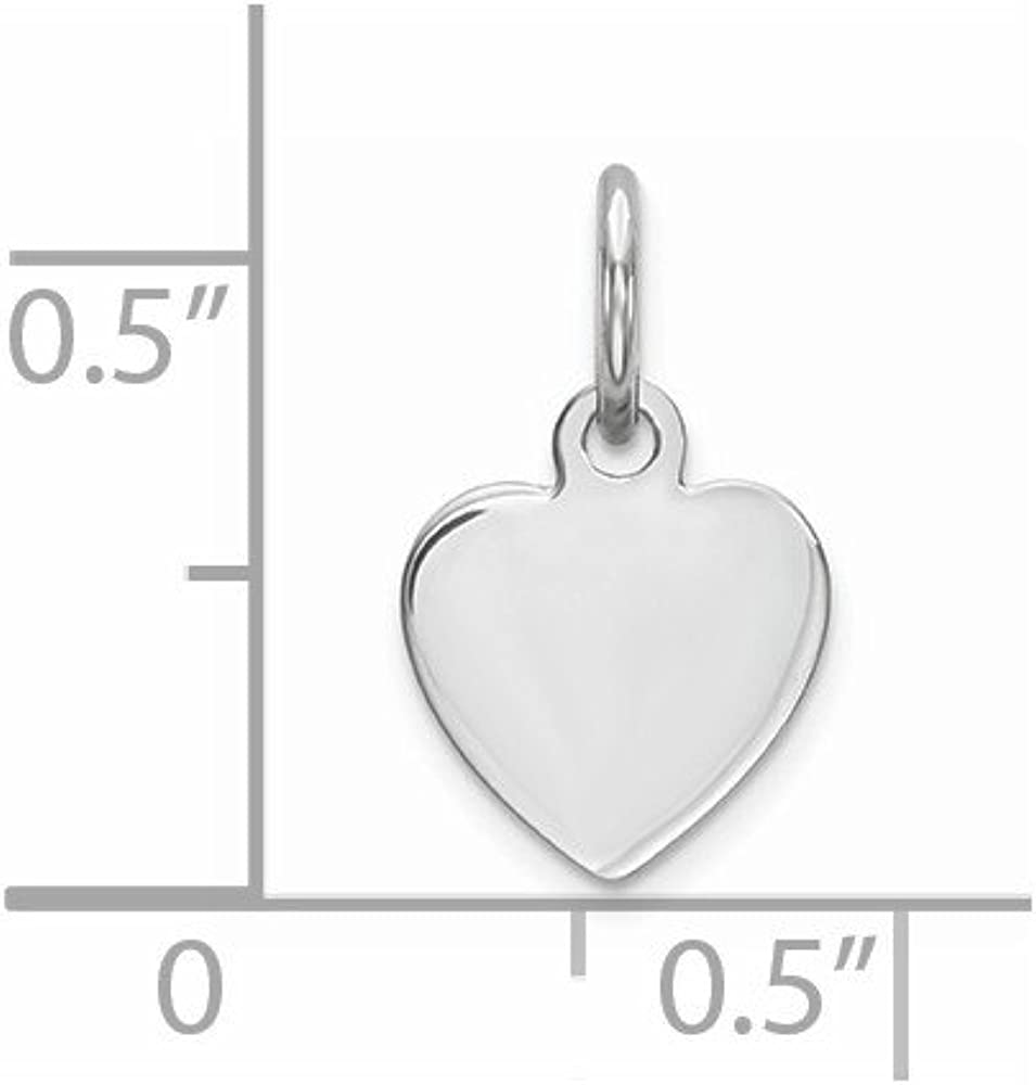 925 Sterling Silver Engraveable Heart Polished Front Satin Back Disc Charm and Pendant