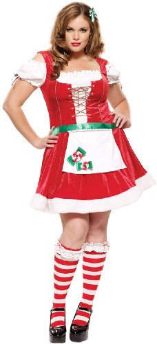[Plus Size Miss Peppermint Bow Santa Costume(RED/WHITE,1X-2X)] (Peppermint Costumes)