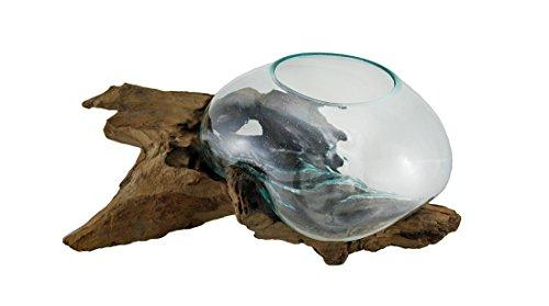 Amazon Zeckos Wood Glass Decorative Vases Glass On Teak