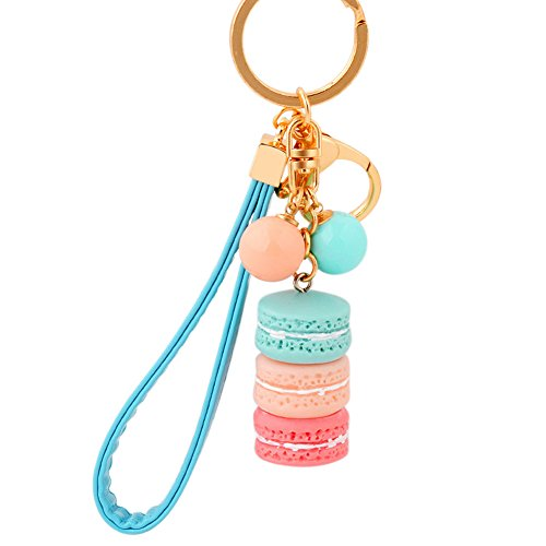 BAOBAO Macaron Cake Dessert Candy Beads Pendant Charm Bag Purse Keychain Keyring Gift(Blue) -