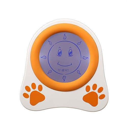 Happy nest Clocks Kids Alarm Clock Children Sleep Trainer with Rechargeable Battery and Night Light Clock for Toddlers Girls Boys Bedroom Teach Time to Wake ()
