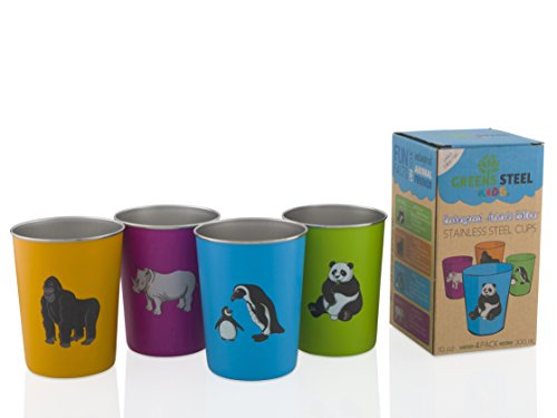 10oz Stainless Steel Cups for Kids - Fun Animal Edition (4 Pack) By Greens Steel