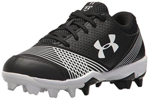 Under Armour Girls' Glyde Jr. RM Softball Shoe, Black (011)/White, 3.5 (Girls Softball Shoes)
