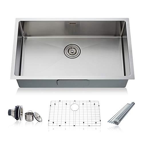 Undermount Bowl Sink 1/2 1 (Taozun Kitchen Sink 32 inch Undermount Single Bowl 16 Gauge Stainless Steel Sink Kit)
