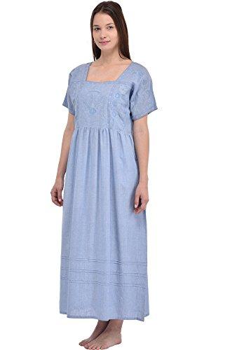 Camicia da notte Cotton Lane Blue Chambray Vintage Riproduzione Vintage Plus Size N92-CH. Taglie italiane dalla 40 alla 70