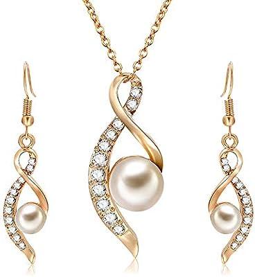 a53c196e979e Fansi 1pcs Mujeres Bijoux Ensemble- Vintage 3D Perla Brillantes Zircon  Collar de Cadena clavícula Colgante Bellota Cadena Pendientes Conjunto