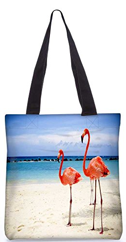 """Snoogg Flamingos Einkaufstasche 13,5 X 15 In """"Einkaufstasche Dienstprogramm Trage Aus Polyester Leinwand"""