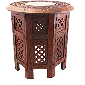 This Item Wellpackbox 15 Hand Carved Octagon Coffee Table End Brass Inlay End