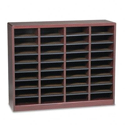 Safco - Wood/Fiberboard E-Z Stor Sorter 36 Sections 40 X 11 3/4 X 32 1/2 Mahogany ''Product Category: Desk Accessories & Workspace Organizers/Sorters''