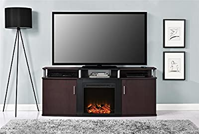 """Ameriwood Home 1766196PCOM Carson Electric Fireplace TV Console for TVs up to 70"""", Cherry"""