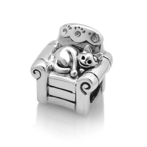 925 Sterling Silver Lazy Cat on Sofa Bead Charm