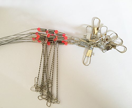 10PCS-Fishing-Rigs-35KG90LB-Tested-Stainless-Steel-Fishing-Wire-Rigs-Leaders-Trace-with-Snaps-Swivel-Red-Beads3-Arms-for-Freshwatersaltwaterlakeriver-Fishing-Fishing-Tackle