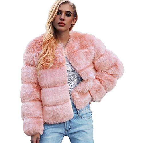 Women Plus Size Long Sleeve Elegant Warm Faux Fur Coat Fur Outdoor Cardigan Coat Overcoat(L,Pink) -