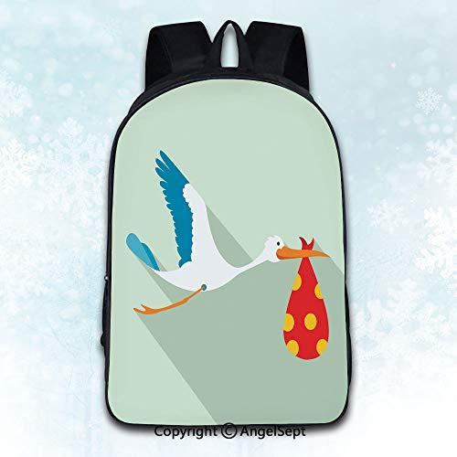 Women Backpack Oxford Cloth Elegant Shoulder Bag,Flying stork with a bundle flat icon Theme Artwork Print Decorations Illustration Multicolor 16 inches,Backpacks for Teen Girls