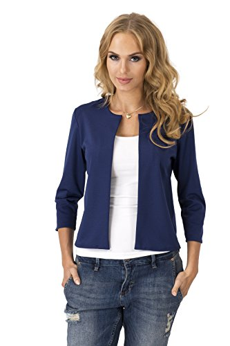 Damen Blazer Kurzjacke Jacke in 6 Farben Gr. S M L XL, 36 38 40 42, M139 Dunkelblau M/38