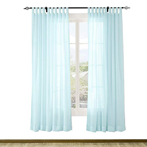 Macochico Extra Long Sheer Curtain Panels Outdoor Indoor Window Tulle Draperies Panel Privacy Protection Dustproof for Patio Garden Gazebo Living Room Sky Blue 84W x 120L (1 Panel)