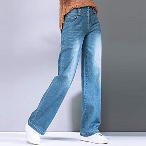 Mezclilla Vaqueros Talle Para Color Mujeres Adelina Rectos Sólido White Pantalones Blau De Elásticos Alto Ropa Bolsillos Delanteros zxx4nUA