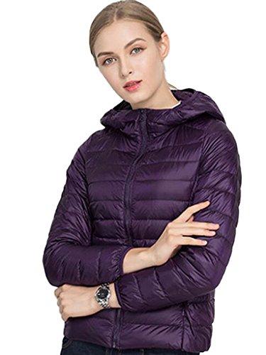 PERSUN Women's Dark Purple Quilted Hooded Lightweight Pillow Down Jacket Puffer Coats Outwear,Large