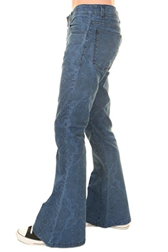 Run & Fly Mens 60s 70s Vintage Hendrix Paisley Stretch Denim Retro Bell Bottom Flares 34 Regular for $<!--$39.95-->